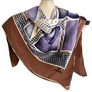 "Fendi Purple Brown Blue Silk 34"" Square Wrap"